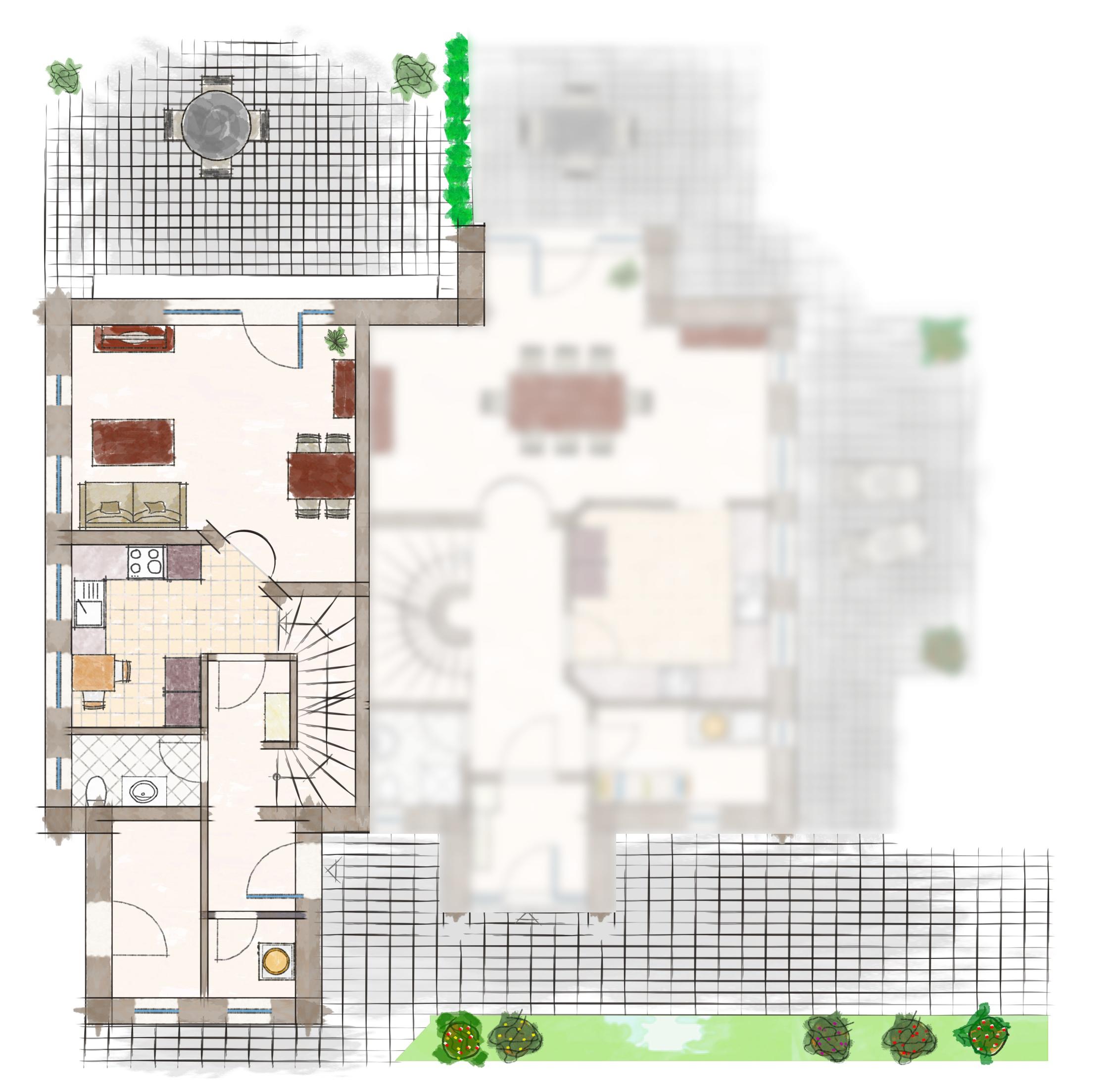 Grundriss Erdgeschoss | Ferienhaus Henny